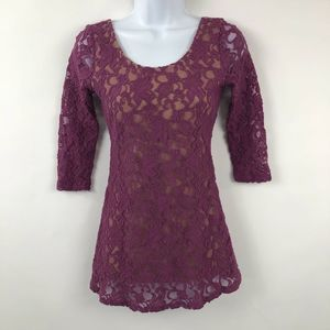 Pins + Needles Lace Top Peplum Purple
